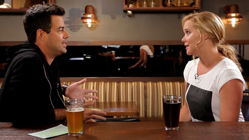 Carson Daly and Amy Schumer in a 2013 episode of Last Call with Carson Daly on NBC