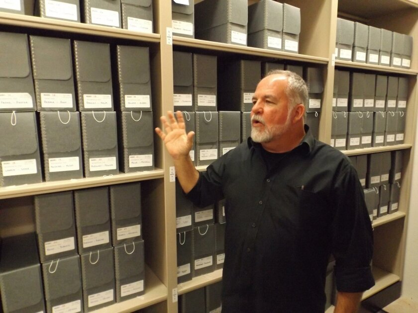 Michael Mishler, archivist and curator at La Jolla Historical Society, speaks profusely about the archive's collections.