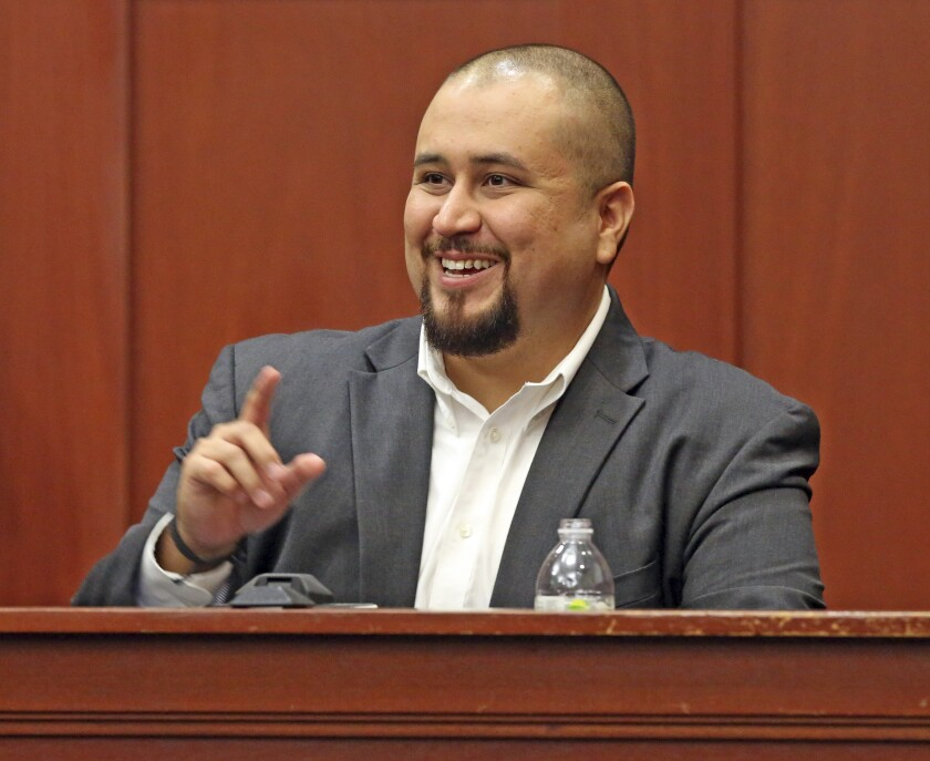 George Zimmerman testifies in an Orlando, Fla., courtroom in 2016.