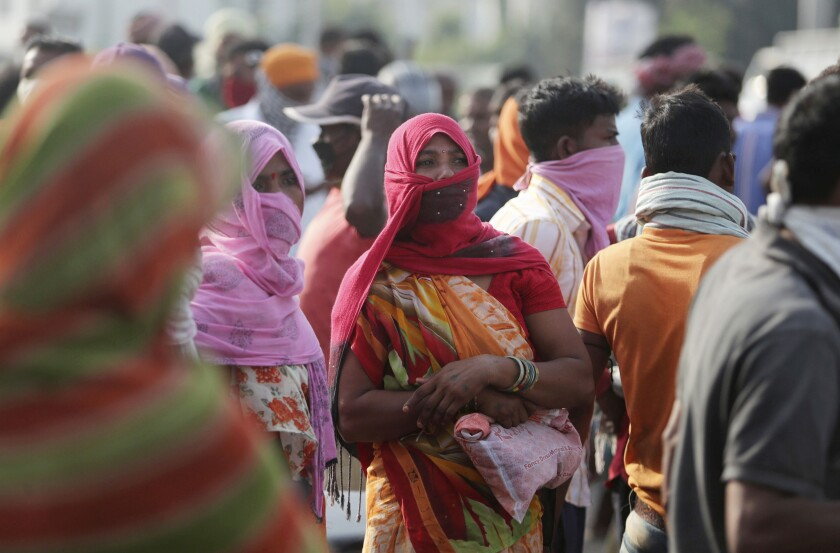 Migrant laborers looking for work in India