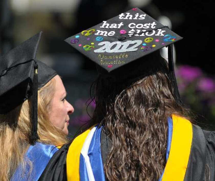 This graduation cap -- photographed during the Centenary College commencement ceremony -- helps explain why assets are rising in 529 college plans.