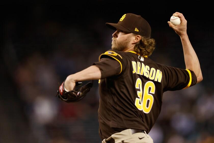 Padres reliever Pierce Johnson pitches against the Arizona Diamondbacks
