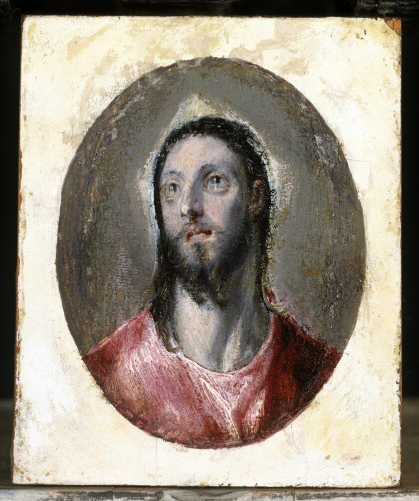 """Cabeza de Cristo (Head of Christ),"" Oil on paper on panel, by Domenikos Theotokopoulos (El Greco), 1600."