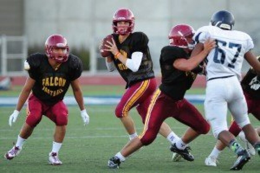 The Torrey Pines varsity football team scrimmaged against San Marcos on Friday, Aug. 22.