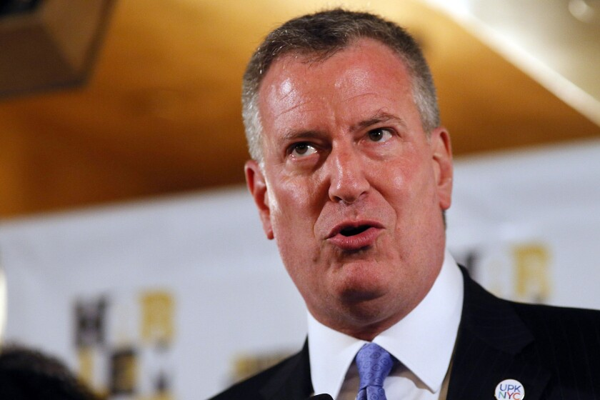 """New York Mayor Bill de Blasio has to get ready to sing """"I Love L.A."""" after the New York Rangers lost the Stanley Cup title to the Los Angeles Kings."""