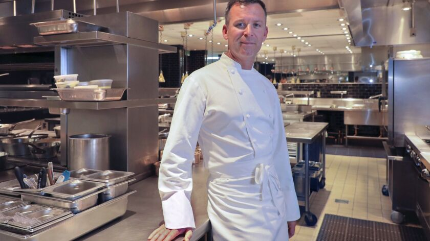 Chef William Bradley in the kitchen at Addison at the Fairmont Del Mar Resort.