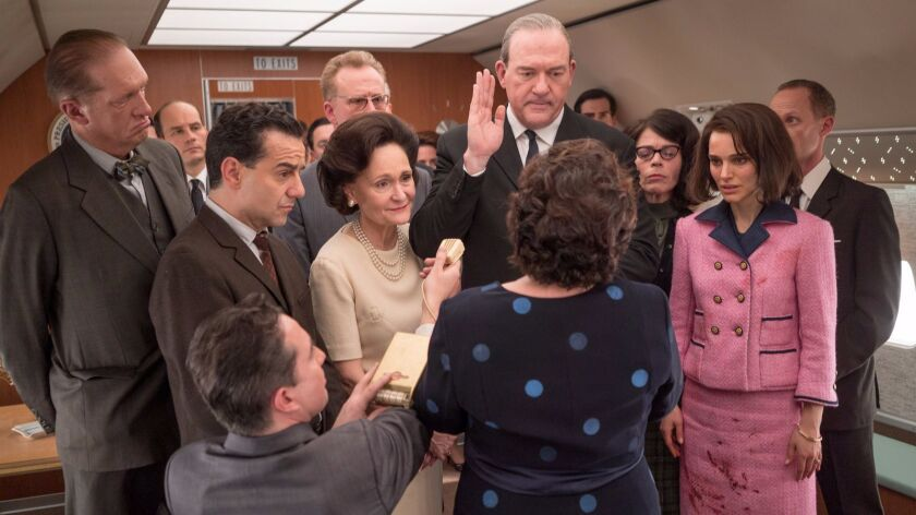 "A key scene in ""Jackie"" with Natalie Portman on Air Force One after the assassination of the President   with  Lyndon Baines Johnson played by John Carroll Lynch, being sworn in."