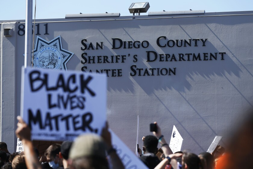 Black Lives Matter supporters rallied in June at the San Diego County Sheriff's Department Station in Santee.