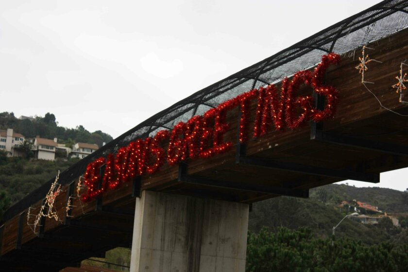 The gateway greeting went up over Thanksgiving weekend. Photo; Kathy Day