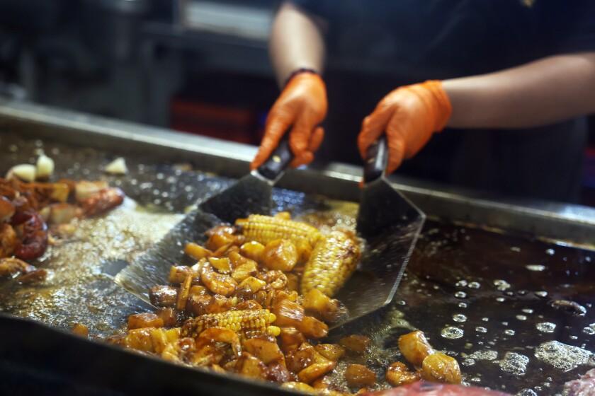 Food is prepared at the San Pedro Fish Market