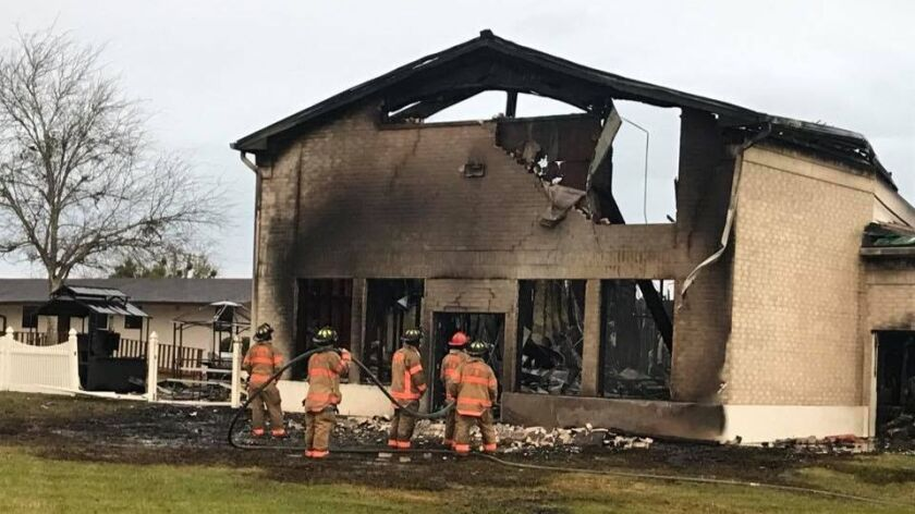 Photo shows the remains of the Victoria Islamic Center in Victoria, Texas, destroyed in a fire on Jan. 28, 2017.