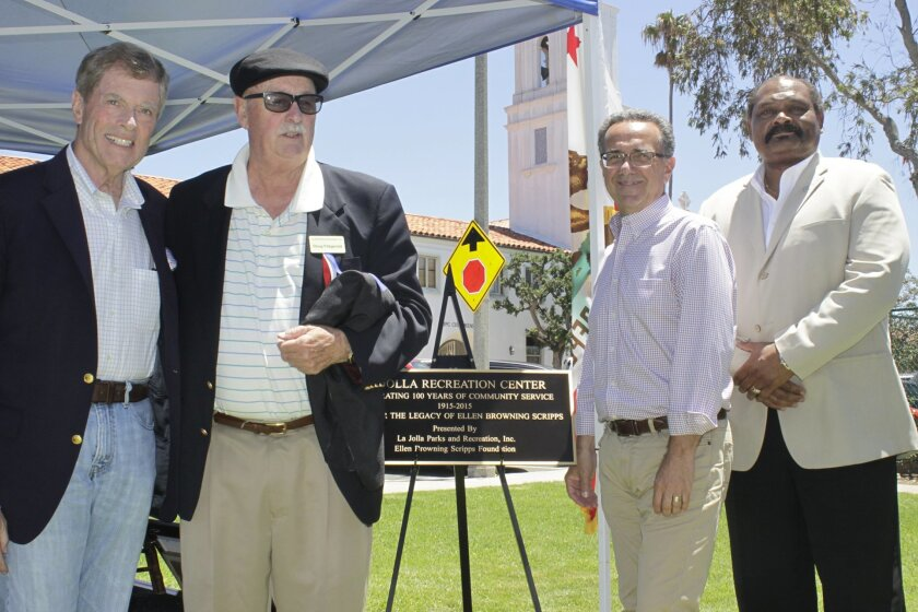 With the new centennial plaque are Doug Dawson, director Ellen B. Scripps Foundation; Doug Fitzgerald, president La Jolla Park & Rec, Inc.; Joe La Cava, trustee La Jolla Planning Association and Herman Parker, director San Diego Park & Rec.