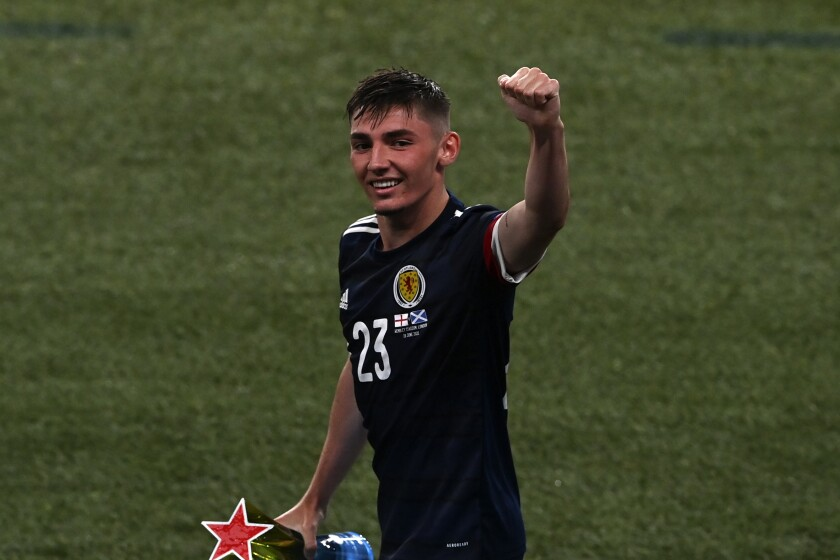 FILE - In this Friday, June 18, 2021 file photo, Scotland's Billy Gilmour waves to the fans after the Euro 2020 soccer championship group D match between England and Scotland, at Wembley stadium, in London. Billy Gilmour is a potential breakout player in the upcoming Premier League season, which begins on Friday Aug. 13, 2021. (Facundo Arrizabalaga/Pool via AP, File)