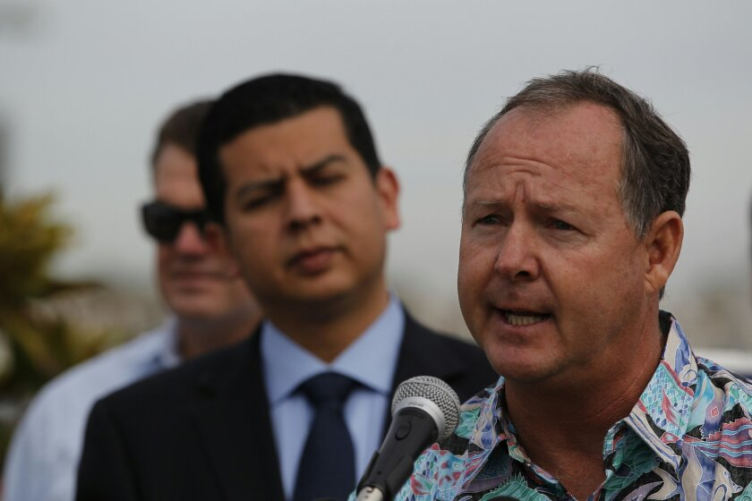 The San Diego City Council selected city lifeguard and union chief Ed Harris, right, to serve the final eight months of Kevin Faulconer's District 2 council term.