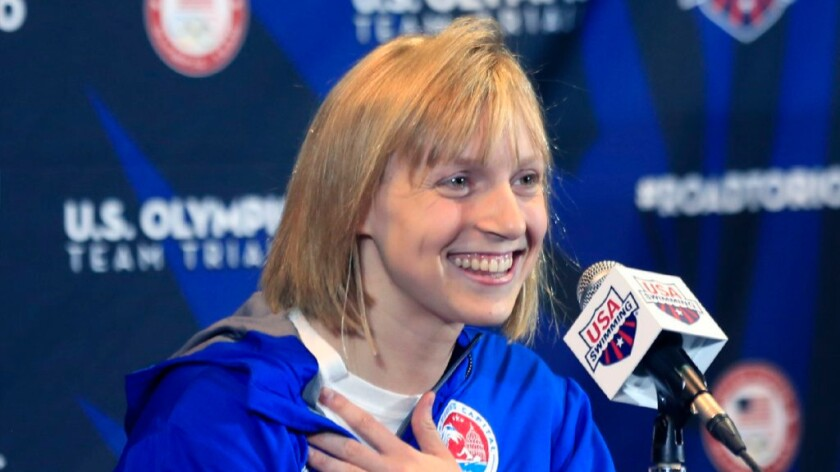 Swimmer Katie Ledecky speaks at a news conference during U.S. Olympic team trials on June 24.