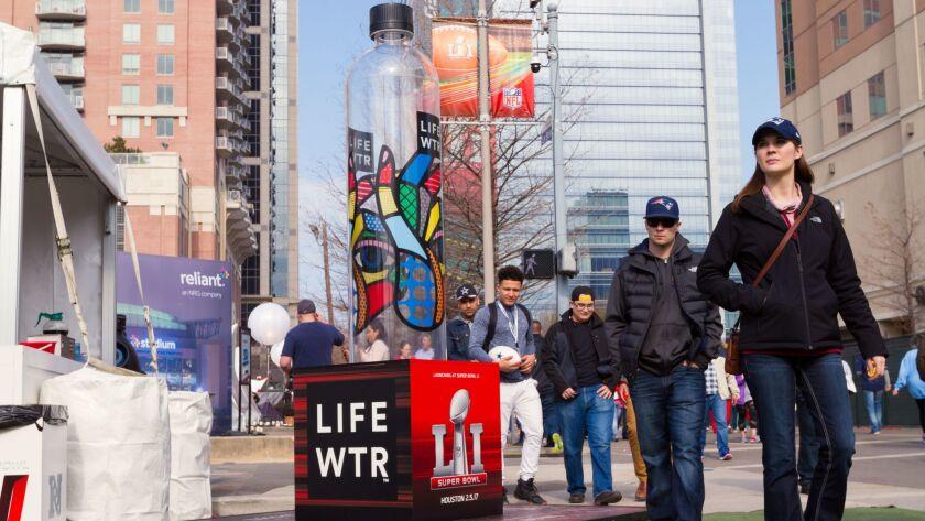 "Grandesign built nine massive water bottles to help launch Pepsi's new brand, ""LIFEWTR."""