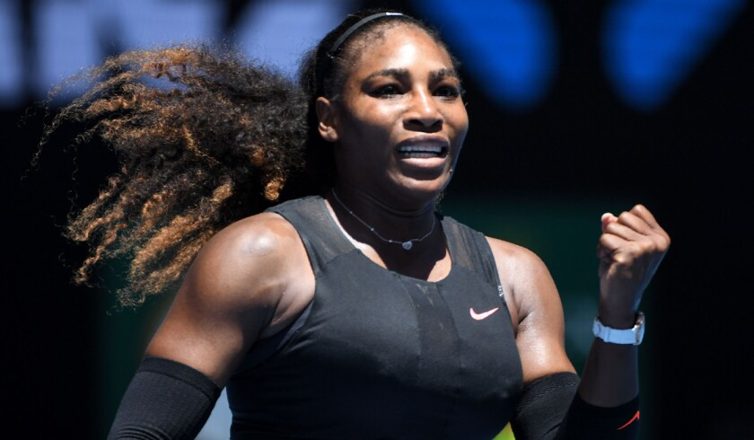 Serena Williams celebrates her victory against Barbora Strycova during their women's singles fourth round match of the Australian Open on Monday.