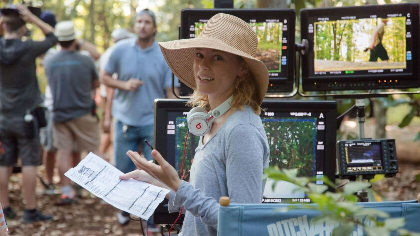 """Women have made gains as film directors, but still remain underrepresented. Seen here: Director Elizabeth Banks on the set of """"Pitch Perfect 2."""""""