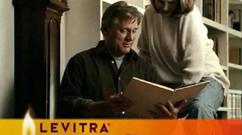 In an undated handout image from GlaxoSmithKline, a still image from a Levitra television advertisem