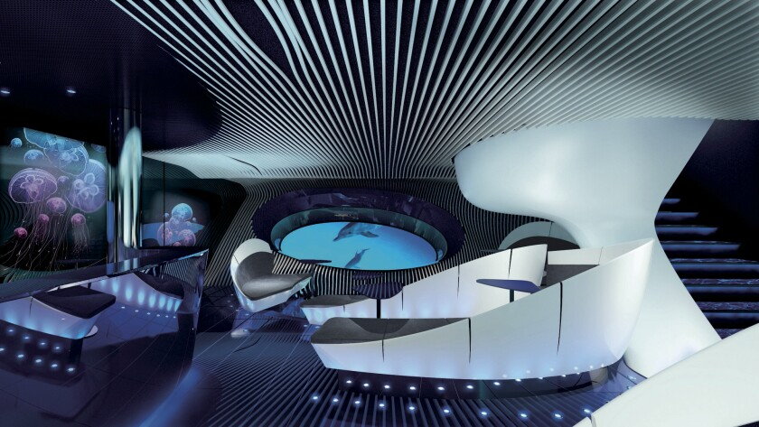 An artist's rendering of the multi-sensory Blue Lounge planned for Ponant's upcoming ships.