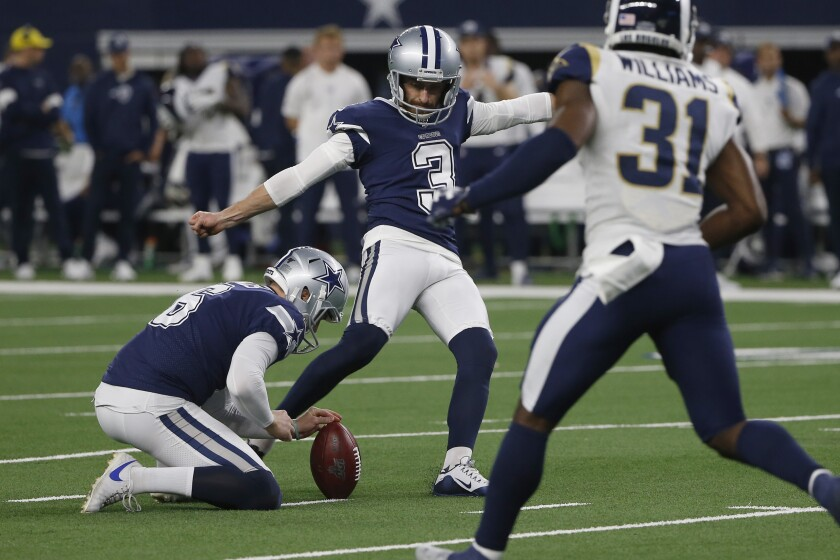 Dallas Cowboys kicker Kai Forbath boots a field goal against the Los Angeles Rams on Dec. 15, 2019, in Arlington, Texas.