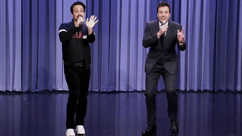 """Jimmy Fallon, right, will take """"The Tonight Show"""" to Puerto Rico and join Lin-Manuel Miranda next month."""