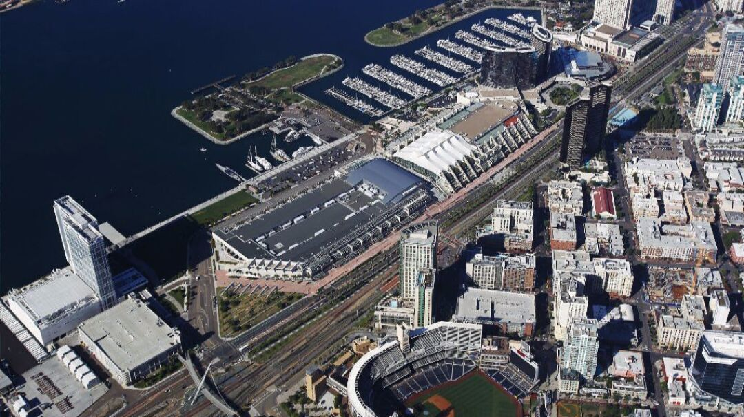 The San Diego Convention Center stretches along the city's bayfront.