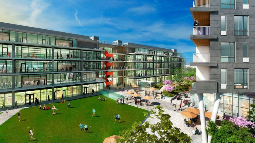 A rendering of the $300-million Ivy Station development, which will include apartments, offices and commuter parking in Culver City.