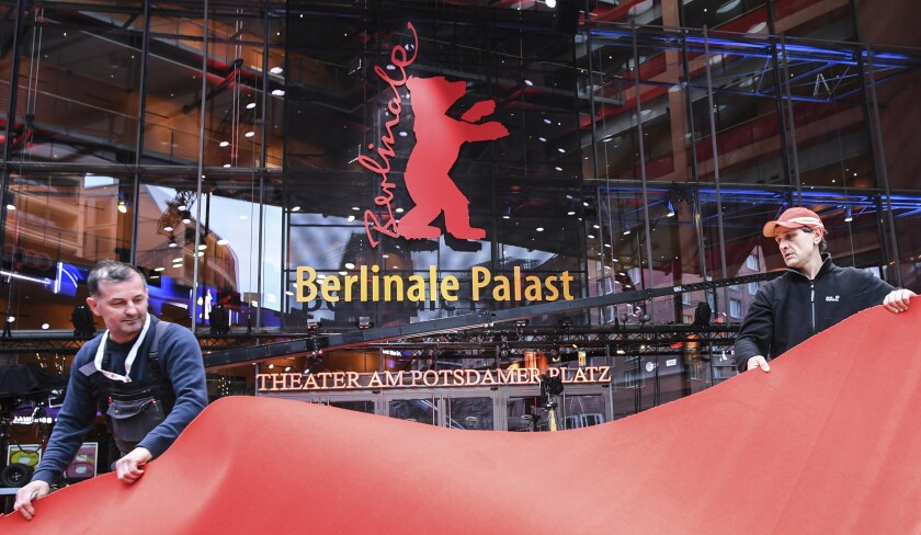 Workers roll out the carpet for Berlin International Film Festival