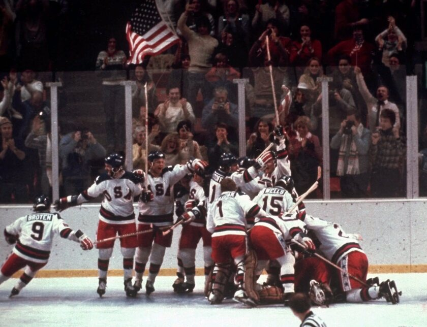 The United States celebrates its 4-3 victory over the Soviet Union at the 1980 Olympic Games.