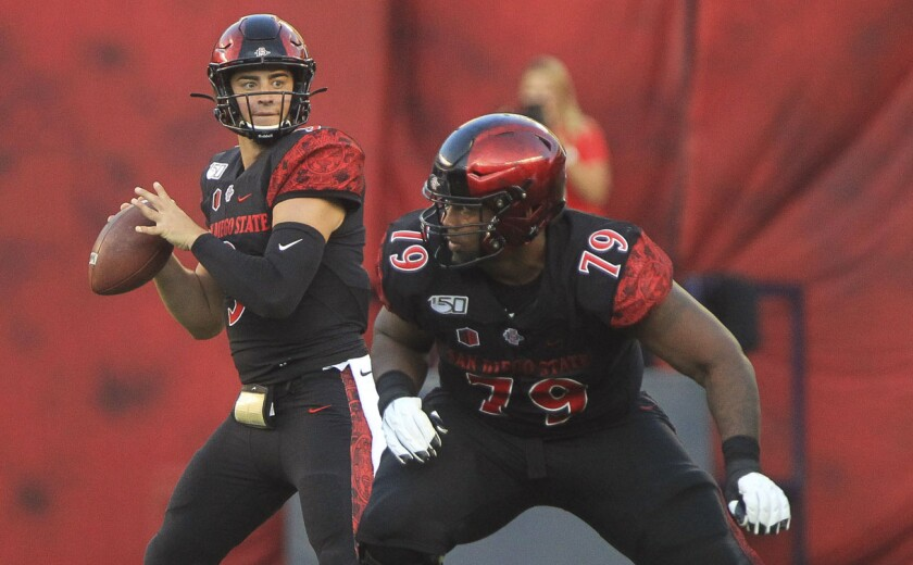 San Diego State quarterback Ryan Agnew looks to pass with left guard Daishawn Dixon in front of him during the second quarter against Weber State at SDCCU Stadium.