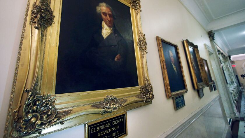 This photo taken March 20, 2014 shows a portrait of Massachusetts Gov. Elbridge Gerry hanging in a h