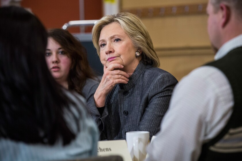 Democratic presidential hopeful and former Secretary of State Hillary Clinton speaks with students and faculty at Concord Community College in New Hampshire on April 21.