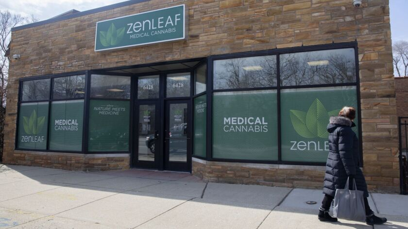 Zen Leaf medical cannabis dispensary is seen in Chicago's Norwood Park East neighborhood. The dispensary is part of Verano Holdings, which is being purchased by Phoenix-based Harvest Health & Recreation.