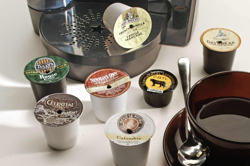 Fewer Americans are drinking coffee daily, but a study found a rise in the popularity of single-cup brewing machines such as the one pictured above.