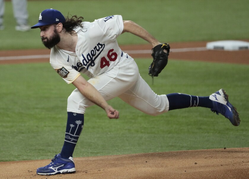 Dodgers' Tony Gonsolin pitches against the Tampa Bay Rays in Game 2 of the World Series at Globe Life Field.