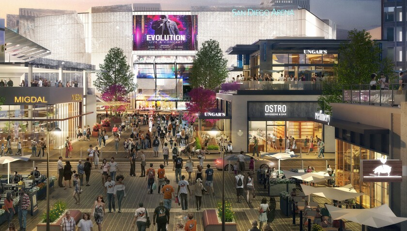 An artist's rendering depicts a completely new arena that could be part of redevelopment plans for the Midway District.