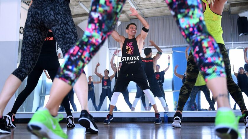 Abraham Hernandez instructs a Strong by Zumba class at IDA Hollywood.