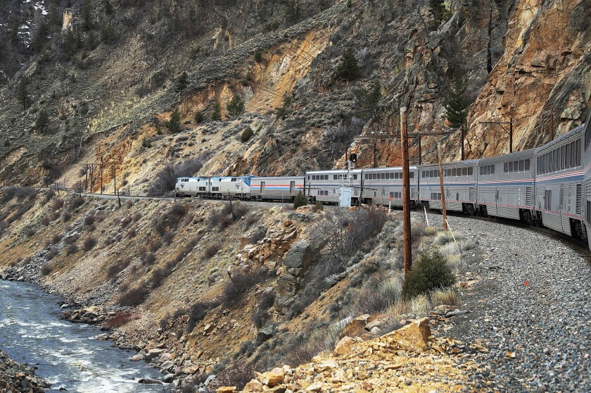 Amtrak's California Zephyr rolls along the rails during its 2,438-mile trip to Emeryville/San Francisco from Chicago.