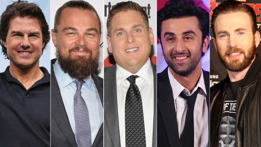 Tom Cruise, left, Leonardo DiCaprio, Jonah Hill, Ranbir Kapoor and Chris Evans are among the single guys on Forbes' new list of the world's highest-paid movie actors.