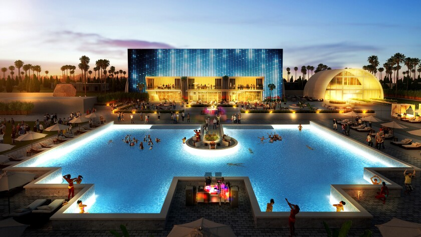 Artist rendering of the party pool and surrounding amenities at the Hotel Indigo resort.