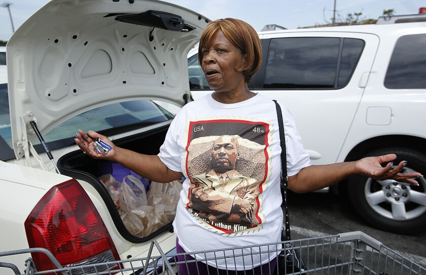 Ellen Harris, 67, a resident of Compton for the past 36 years, responds to reporter informing her that the L.A. County Sheriff's Department secretly conducted aerial surveillance of the entire city of Compton for nine days in 2012.