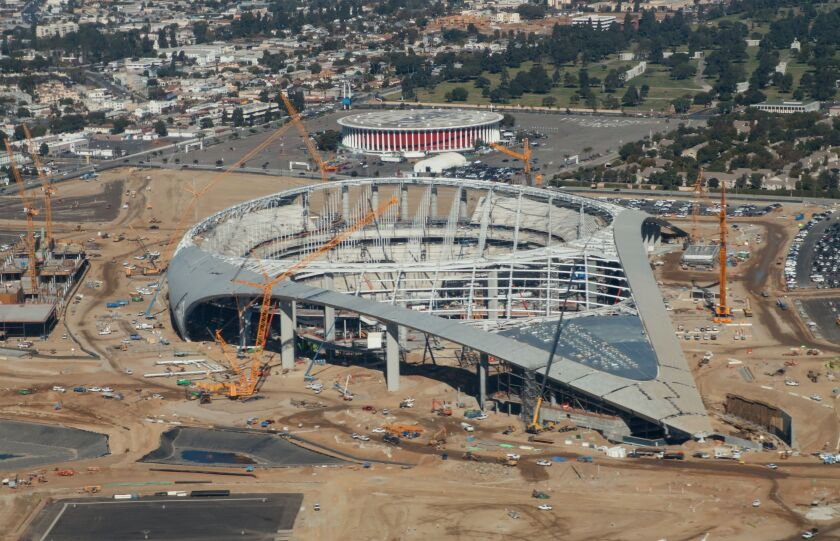 SoFi Stadium, the future home of the Rams and Chargers.