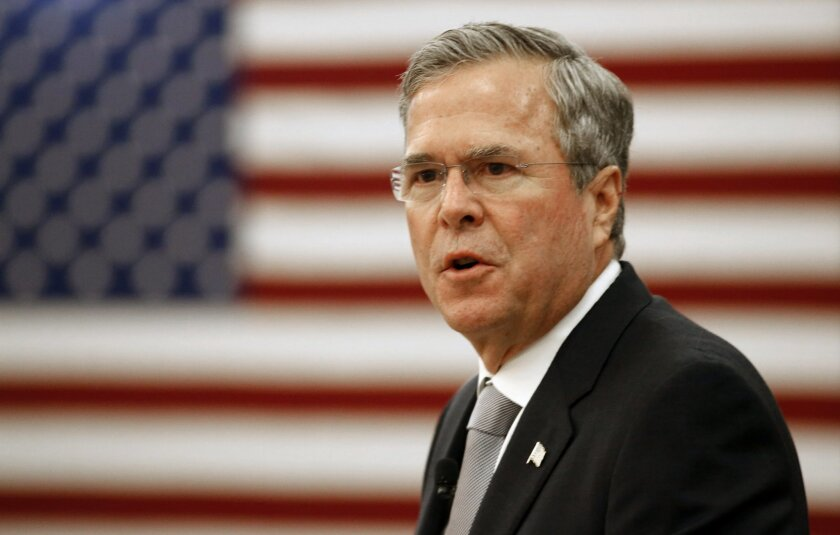 In this Nov. 18, 2015, photo, Republican presidential candidate, former Florida Gov. Jeb Bush, gives a speech on foreign policy and national defense on the campus of The Citadel in Charleston, S.C. In a presidential campaign that has suddenly shifted in focus to terrorism and security, Democrat Hillary Rodham Clinton and Bush both see opportunities to cast themselves as best prepared to be commander in chief in tumultuous times. In back-to-back foreign policy speeches this week, Clinton and Bush outlined blueprints for defeating the Islamic State, the extremist group blamed for last week's attacks in Paris that killed 129 and left hundreds more wounded. (AP Photo/Mic Smith)
