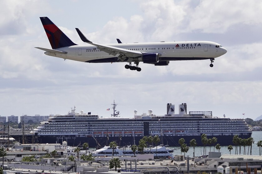 A Delta Airlines jet approaches San Diego International Airport.