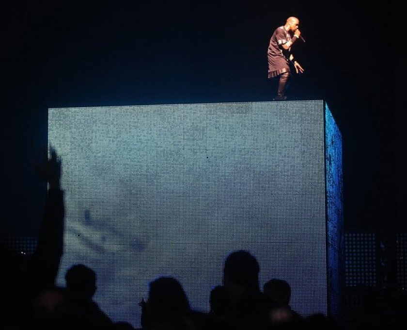 Kanye West on stage at Staples Center Sunday night December 11 2011 for his 'Watch The Throne' tour with Jay¿Z in Los Angeles, the first of three nights.