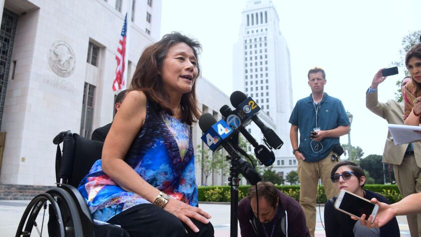 Federal prosecutors filed new documents this week in a whistle-blower case targeting the city of Los Angeles over housing for disabled renters. Mei Ling, pictured in June outside the federal courthouse, is one of the original whistle-blowers in the case.