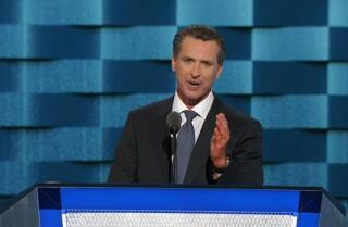 Lt. Gov. Gavin Newsom of California speaks about gay rights at the Democratic National Convention