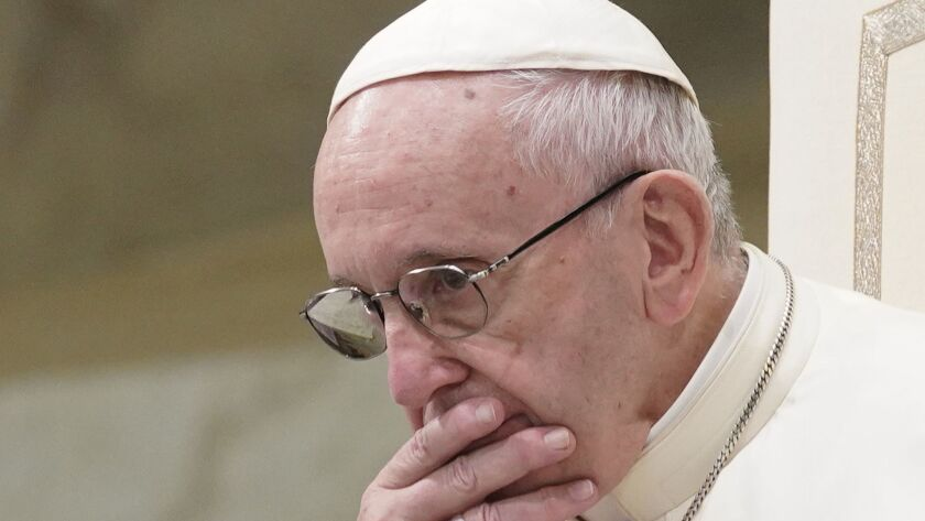 FILE - In this Aug. 22, 2018 file photo, Pope Francis is caught in pensive mood during his weekly ge