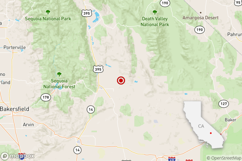 Location of the epicenter of Friday morning's quake near Ridgecrest, Calif..
